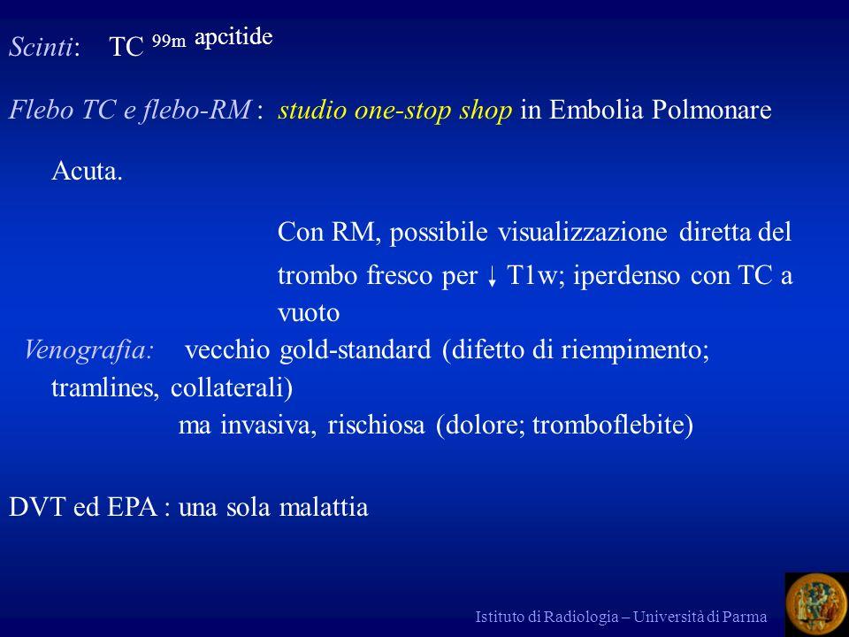 Istituto di Radiologia – Università di Parma Scinti: TC 99m apcitide Flebo TC e flebo-RM : studio one-stop shop in Embolia Polmonare Acuta.