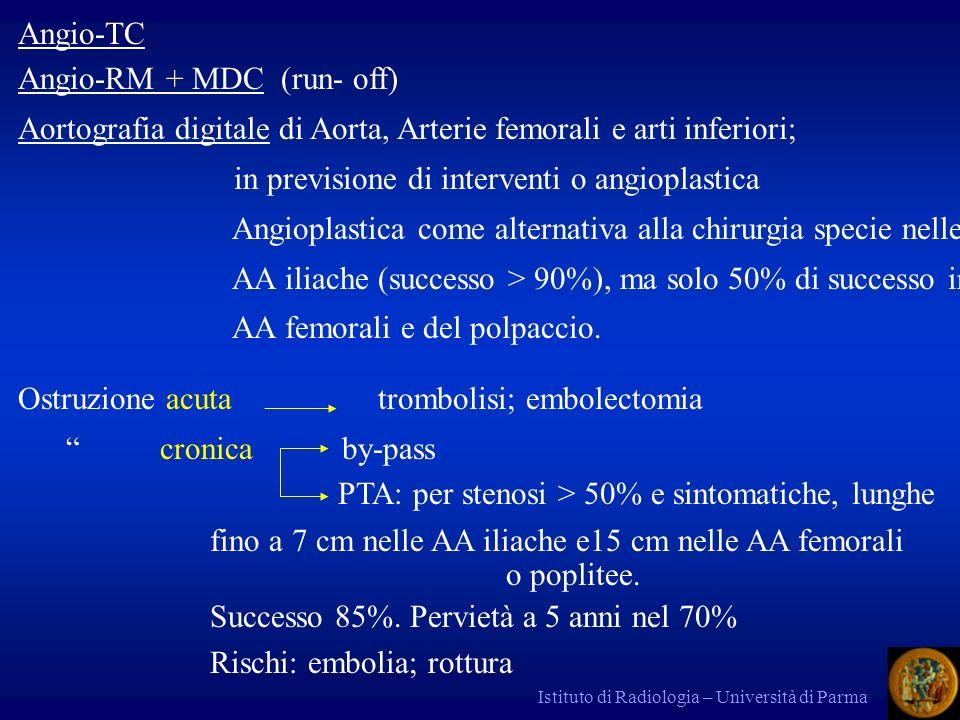 Istituto di Radiologia – Università di Parma Angio-TC Angio-RM + MDC (run- off) Aortografia digitale di Aorta, Arterie femorali e arti inferiori; in previsione di interventi o angioplastica Angioplastica come alternativa alla chirurgia specie nelle AA iliache (successo > 90%), ma solo 50% di successo in AA femorali e del polpaccio.