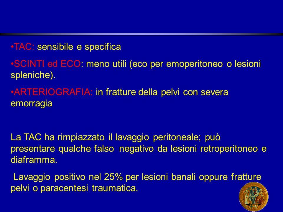 TAC: sensibile e specifica SCINTI ed ECO: meno utili (eco per emoperitoneo o lesioni spleniche).