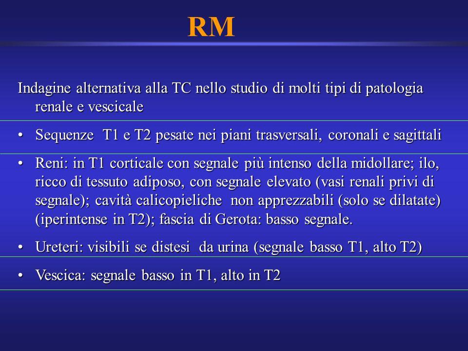 RM Indagine alternativa alla TC nello studio di molti tipi di patologia renale e vescicale Sequenze T1 e T2 pesate nei piani trasversali, coronali e s
