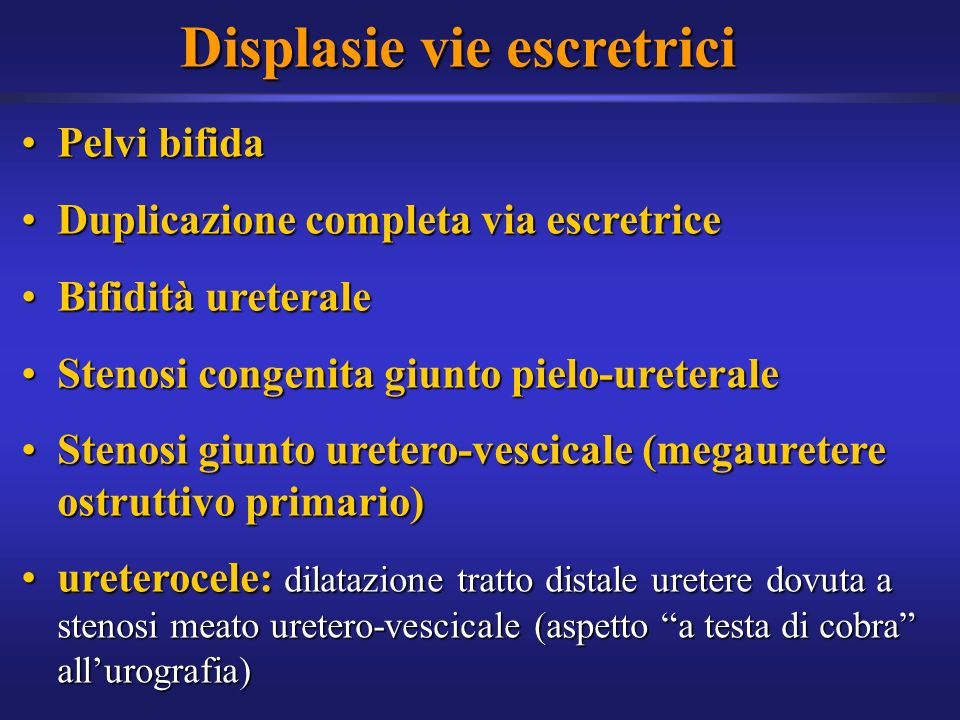 Displasie vie escretrici Pelvi bifidaPelvi bifida Duplicazione completa via escretriceDuplicazione completa via escretrice Bifidità ureteraleBifidità