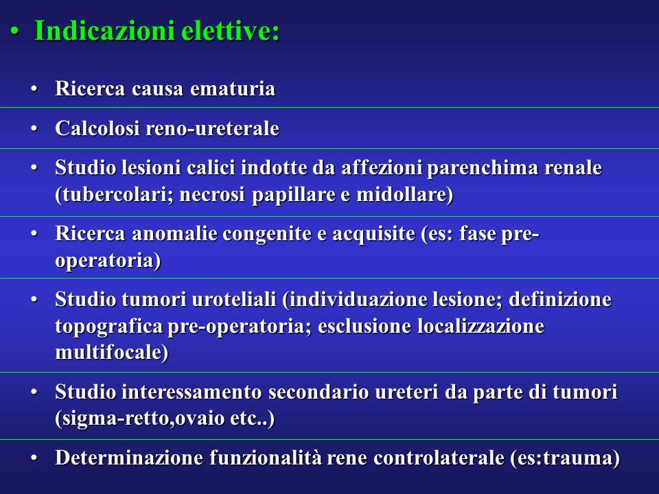 Indicazioni elettive:Indicazioni elettive: Ricerca causa ematuriaRicerca causa ematuria Calcolosi reno-ureteraleCalcolosi reno-ureterale Studio lesion