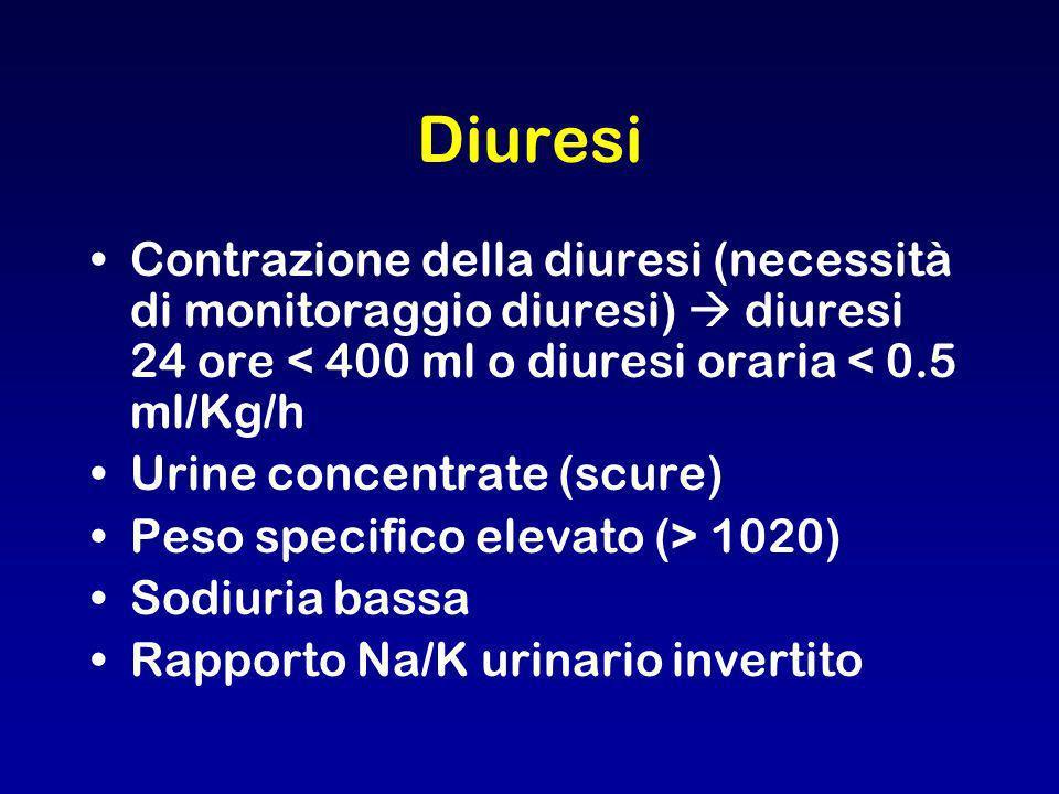 Diuresi Contrazione della diuresi (necessità di monitoraggio diuresi) diuresi 24 ore < 400 ml o diuresi oraria < 0.5 ml/Kg/h Urine concentrate (scure)