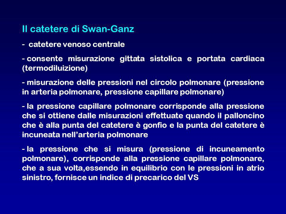 Il catetere di Swan-Ganz - catetere venoso centrale - consente misurazione gittata sistolica e portata cardiaca (termodiluizione) - misurazione delle