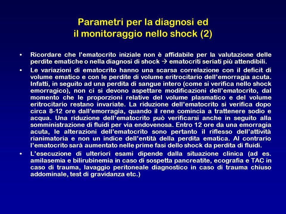 Ricordare che lematocrito iniziale non è affidabile per la valutazione delle perdite ematiche o nella diagnosi di shock ematocriti seriati più attendi