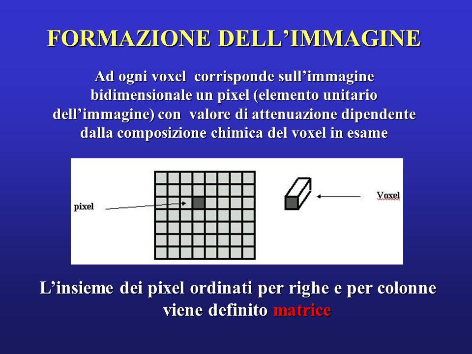 La TC fa riferimento ad una MATRICE, nella quale limmagine è scomposta in un numero finito di unità elementari di superficie, quadrate, chiamate PIXEL.
