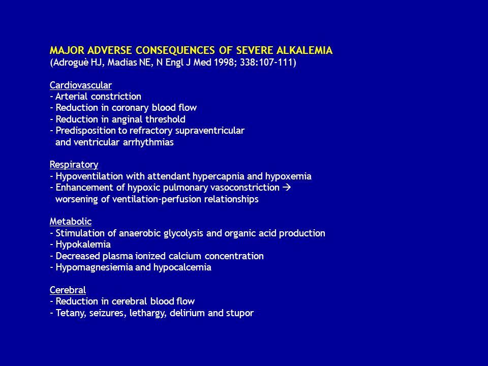ALCALOSI METABOLICA: MECCANISMI FISIOPATOLOGICI B) MANTENIMENTO Meccanismi che mantengono elevata la bicarbonatemia (aumento soglia renale HCO3) 1) Ipopotassiemia - acidosi intracellulare - aumento attività scambiatore H+/K+ nefrone distale - (aumentata produzione ed escrezione di ammonio) 2) Eccesso di mineralcorticoidi - stimolo diretto sulla H+-ATPasi del tubulo collettore - stimolo indiretto (voltaggio dipendente): riassorbimento di Na nel t.