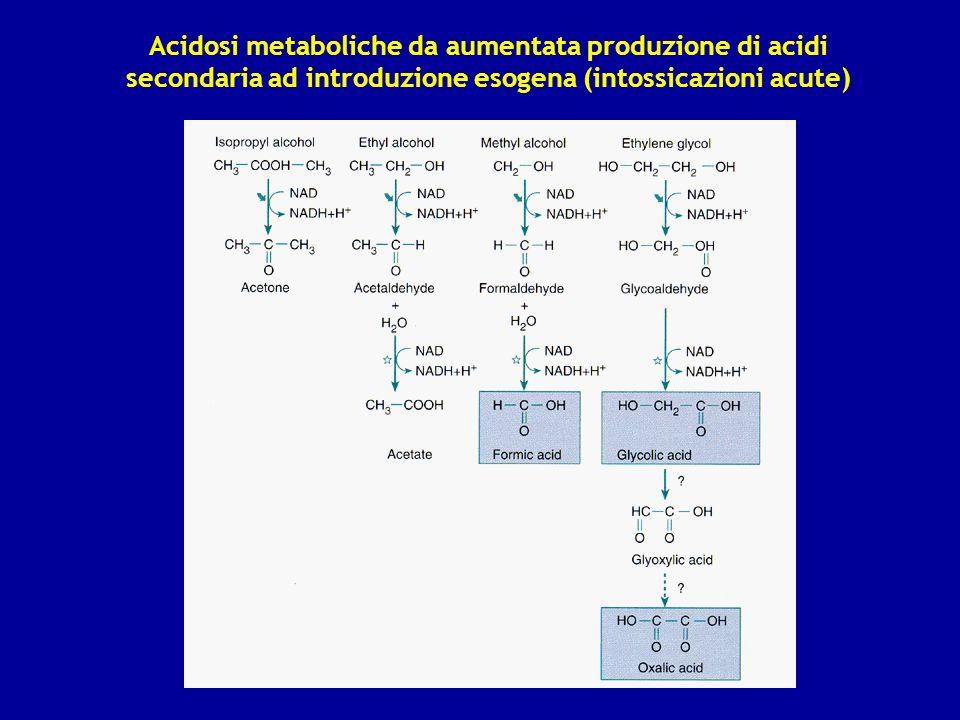 Acidosi metaboliche da aumentata produzione di acidi secondaria ad introduzione esogena (intossicazioni acute)