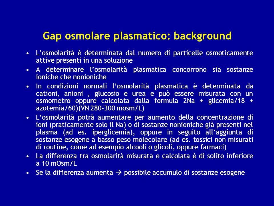 Gap osmolare plasmatico: background Losmolarità è determinata dal numero di particelle osmoticamente attive presenti in una soluzione A determinare lo