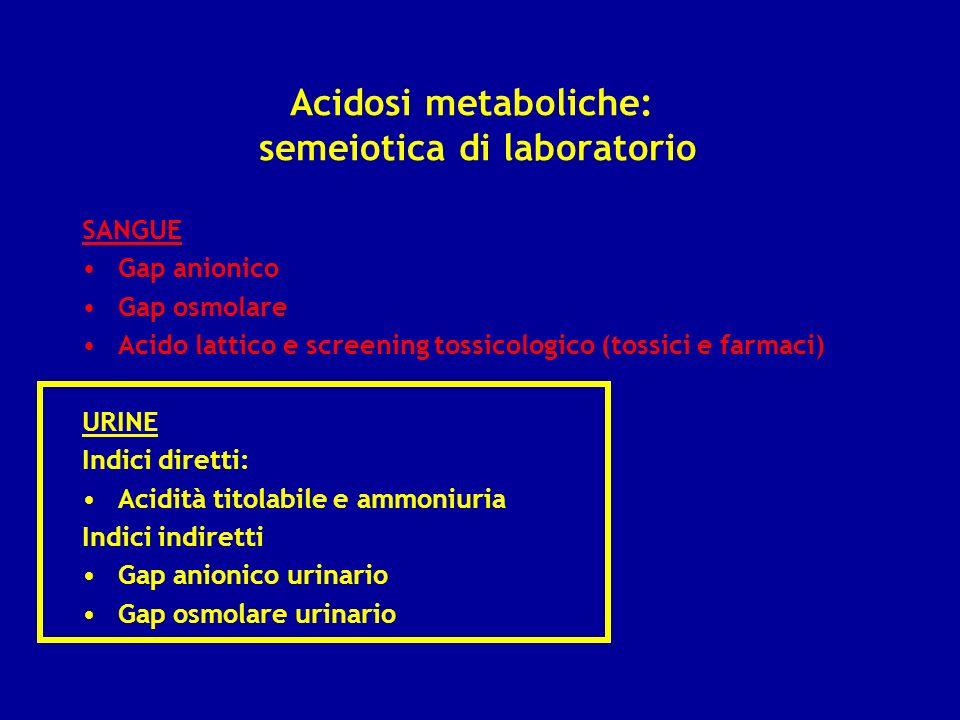 Acidosi metaboliche: semeiotica di laboratorio SANGUE Gap anionico Gap osmolare Acido lattico e screening tossicologico (tossici e farmaci) URINE Indi