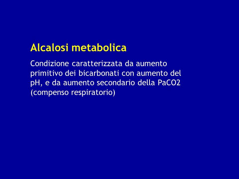Alcalosi metabolica Condizione caratterizzata da aumento primitivo dei bicarbonati con aumento del pH, e da aumento secondario della PaCO2 (compenso r
