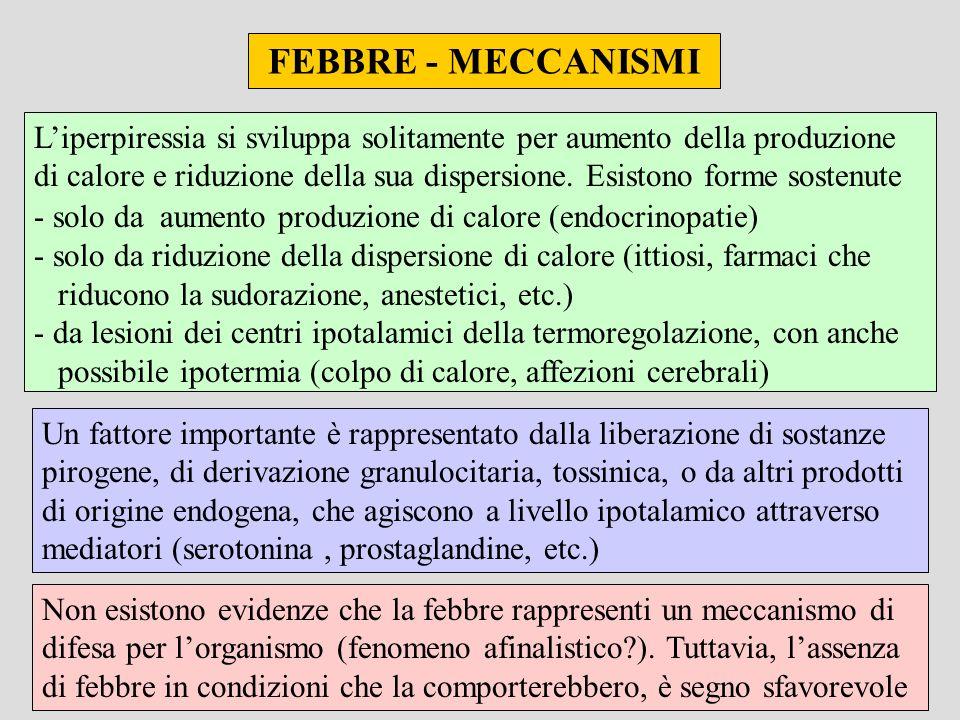 FEBBRE - MECCANISMI Liperpiressia si sviluppa solitamente per aumento della produzione di calore e riduzione della sua dispersione. Esistono forme sos