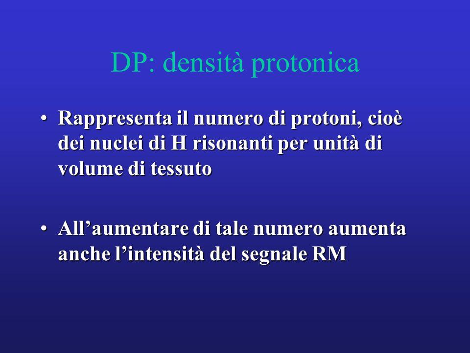 DP: densità protonica Rappresenta il numero di protoni, cioè dei nuclei di H risonanti per unità di volume di tessutoRappresenta il numero di protoni,