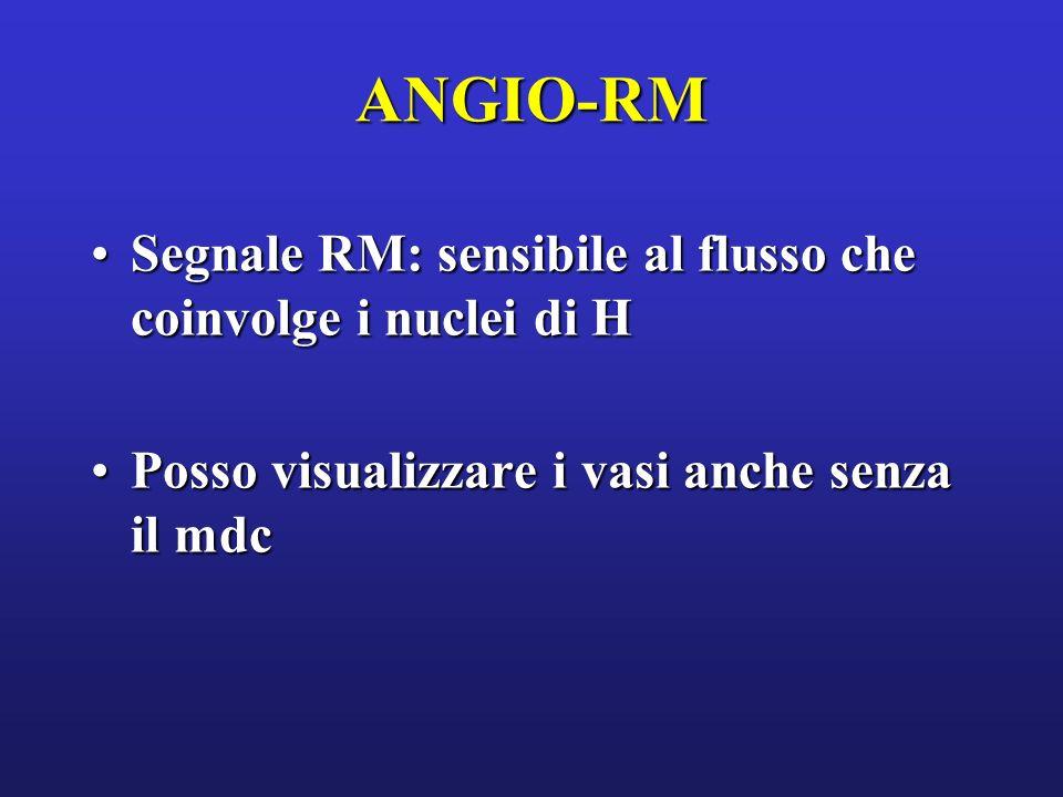 ANGIO-RM Segnale RM: sensibile al flusso che coinvolge i nuclei di HSegnale RM: sensibile al flusso che coinvolge i nuclei di H Posso visualizzare i v