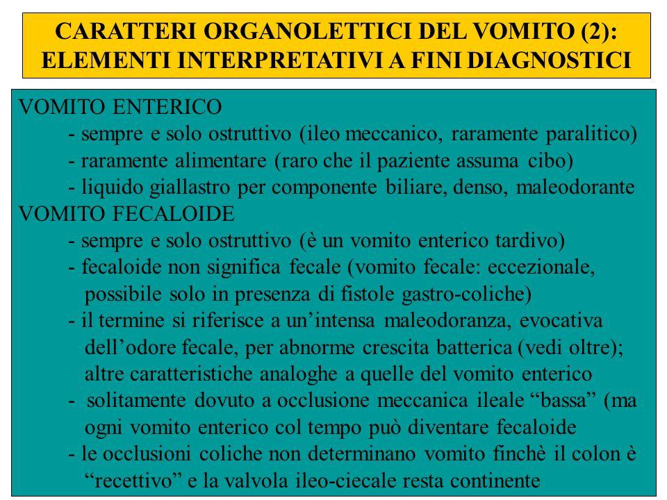 CARATTERI ORGANOLETTICI DEL VOMITO (2): ELEMENTI INTERPRETATIVI A FINI DIAGNOSTICI VOMITO ENTERICO - sempre e solo ostruttivo (ileo meccanico, raramen