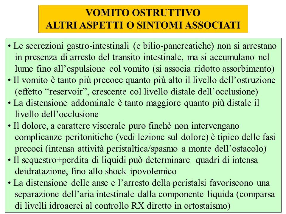 VOMITO OSTRUTTIVO ALTRI ASPETTI O SINTOMI ASSOCIATI Le secrezioni gastro-intestinali (e bilio-pancreatiche) non si arrestano in presenza di arresto de