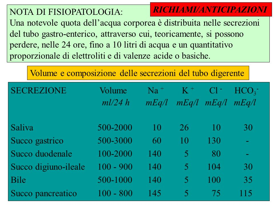 Volume e composizione delle secrezioni del tubo digerente SECREZIONE VolumeNa + K + Cl - HCO 3 - ml/24 h mEq/l mEq/l mEq/l mEq/l Saliva 500-2000 10 26