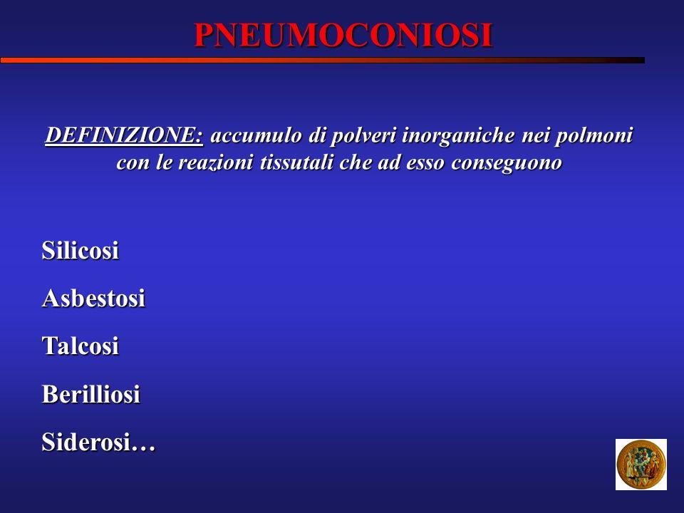 PNEUMOCONIOSI SilicosiAsbestosiTalcosiBerilliosiSiderosi… DEFINIZIONE: accumulo di polveri inorganiche nei polmoni con le reazioni tissutali che ad es