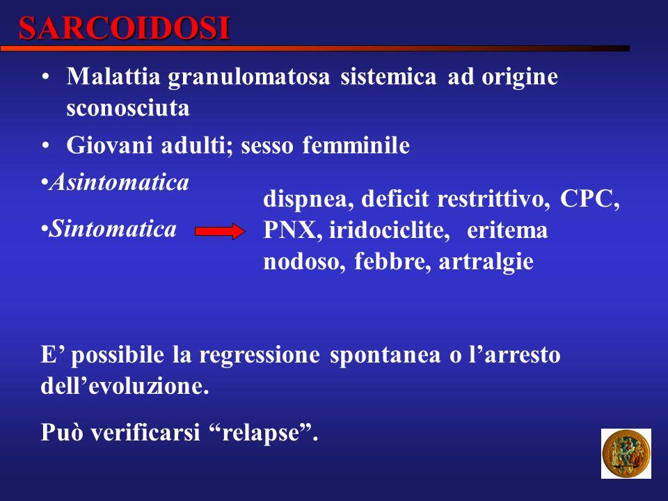 SARCOIDOSI Asintomatica Sintomatica dispnea, deficit restrittivo, CPC, PNX, iridociclite, eritema nodoso, febbre, artralgie E possibile la regressione