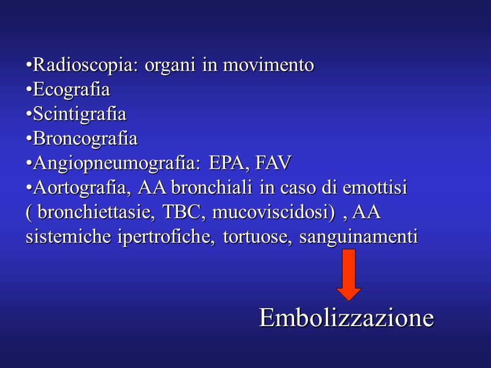 Radioscopia: organi in movimentoRadioscopia: organi in movimento EcografiaEcografia ScintigrafiaScintigrafia BroncografiaBroncografia Angiopneumografi