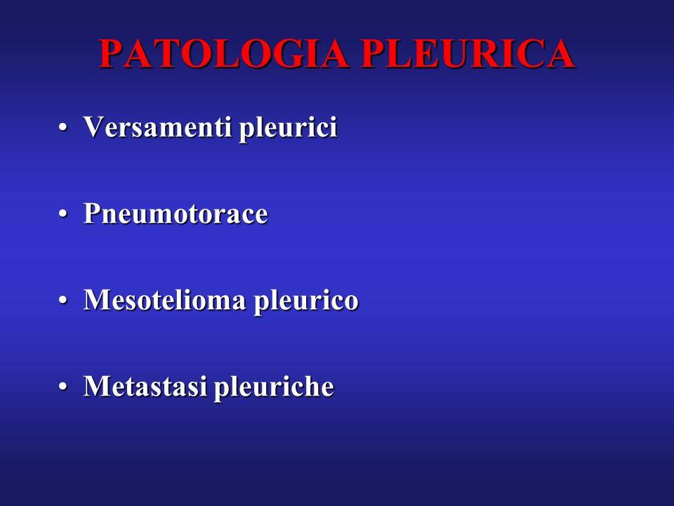 PATOLOGIA PLEURICA Versamenti pleuriciVersamenti pleurici PneumotoracePneumotorace Mesotelioma pleuricoMesotelioma pleurico Metastasi pleuricheMetasta