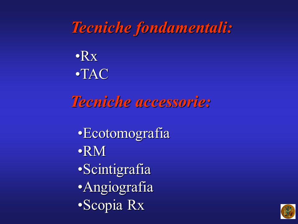 Tecniche fondamentali: RxRx TACTAC Tecniche accessorie: EcotomografiaEcotomografia RMRM ScintigrafiaScintigrafia AngiografiaAngiografia Scopia RxScopi