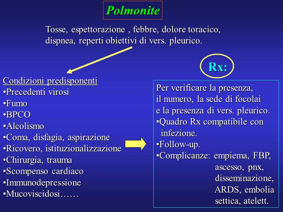 Polmonite Tosse, espettorazione, febbre, dolore toracico, dispnea, reperti obiettivi di vers. pleurico. Condizioni predisponenti Precedenti virosiPrec