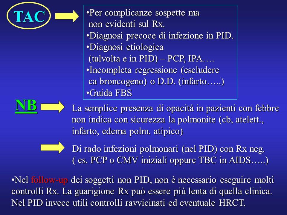 TAC Per complicanze sospette maPer complicanze sospette ma non evidenti sul Rx. non evidenti sul Rx. Diagnosi precoce di infezione in PID.Diagnosi pre
