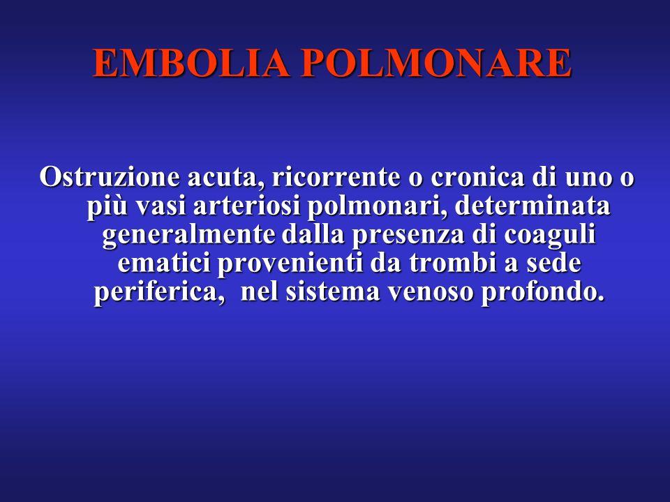 EMBOLIA POLMONARE Ostruzione acuta, ricorrente o cronica di uno o più vasi arteriosi polmonari, determinata generalmente dalla presenza di coaguli ema