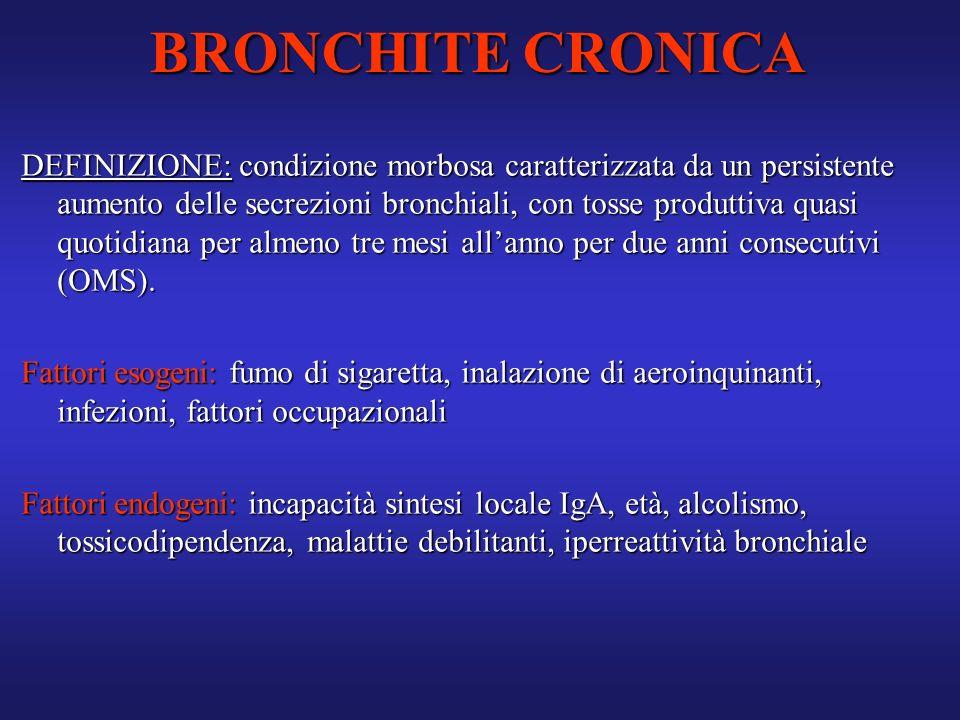 DEFINIZIONE: condizione morbosa caratterizzata da un persistente aumento delle secrezioni bronchiali, con tosse produttiva quasi quotidiana per almeno