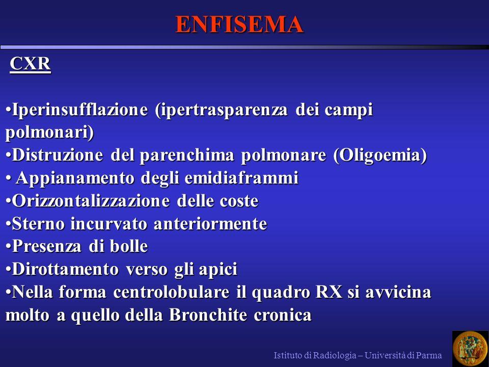 ENFISEMA Istituto di Radiologia – Università di Parma CXR CXR Iperinsufflazione (ipertrasparenza dei campi polmonari)Iperinsufflazione (ipertrasparenz