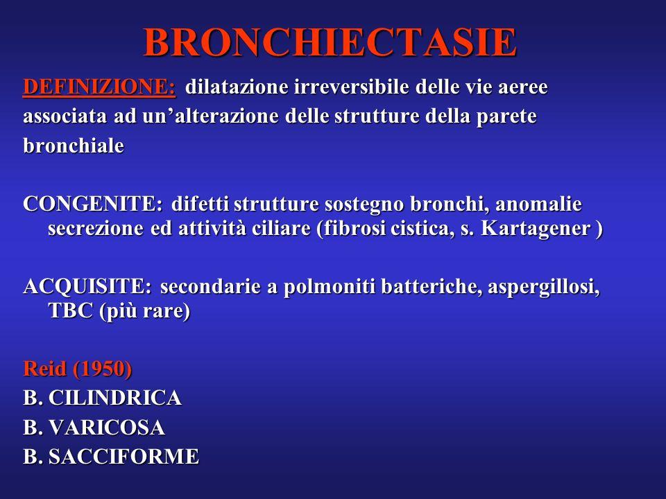 BRONCHIECTASIE DEFINIZIONE: dilatazione irreversibile delle vie aeree associata ad unalterazione delle strutture della parete bronchiale CONGENITE: di