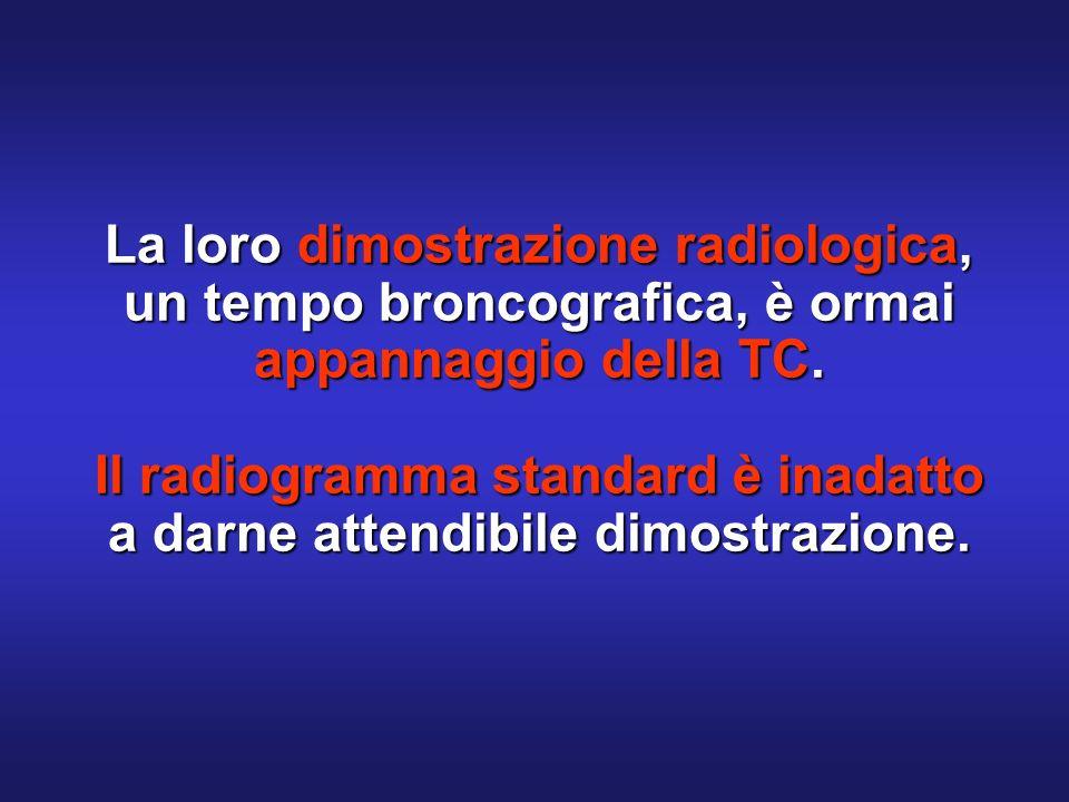 La loro dimostrazione radiologica, un tempo broncografica, è ormai appannaggio della TC. Il radiogramma standard è inadatto a darne attendibile dimost