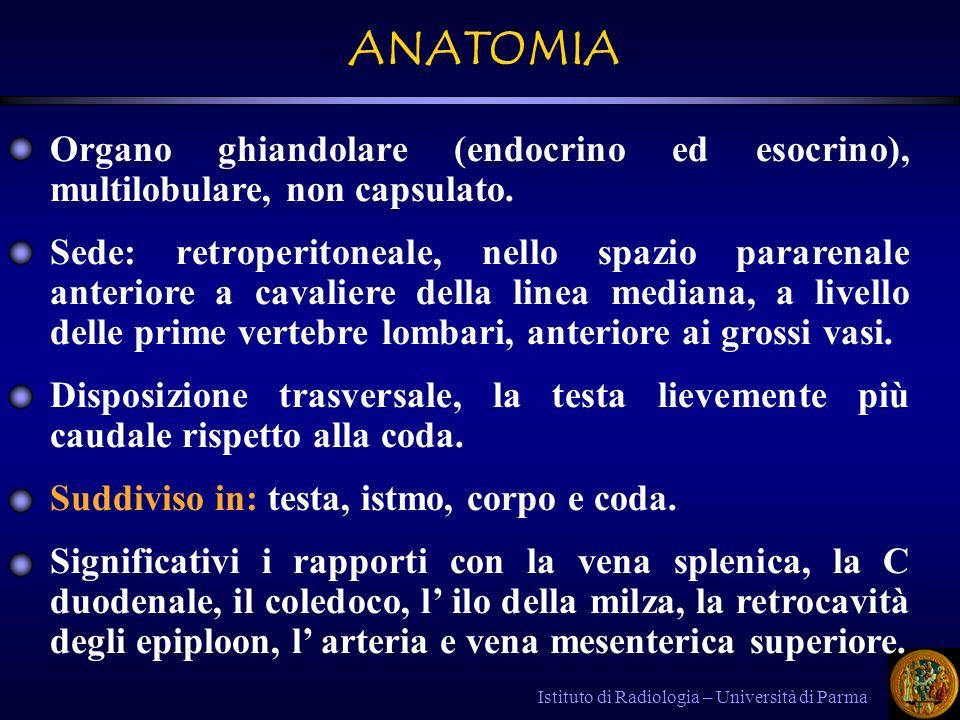 Istituto di Radiologia – Università di Parma TC : - Forme lievi : pancreas normale o modicamente ingrandito, contorni irregolari con c.e parenchimale regolare o disomogeneo.