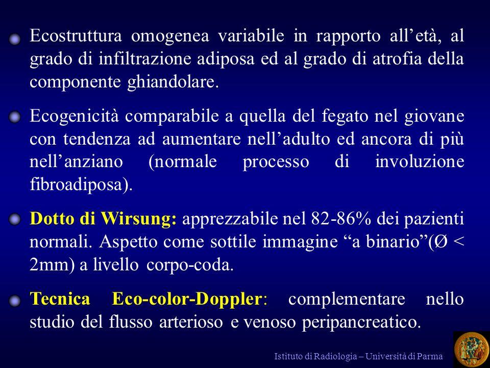 Istituto di Radiologia – Università di Parma PC CALCIFICA : PC CALCIFICA : Caratterizzata dalla formazione, nel sistema escretore, di tappi proteici che presentano particolari affinità con i sali di calcio e costituiscono il nucleo di origine dei calcoli intraduttali.