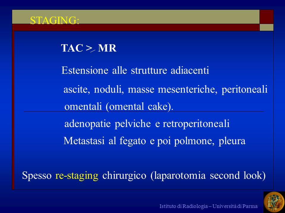 Istituto di Radiologia – Università di Parma TAC > MR Estensione alle strutture adiacenti ascite, noduli, masse mesenteriche, peritoneali omentali (om