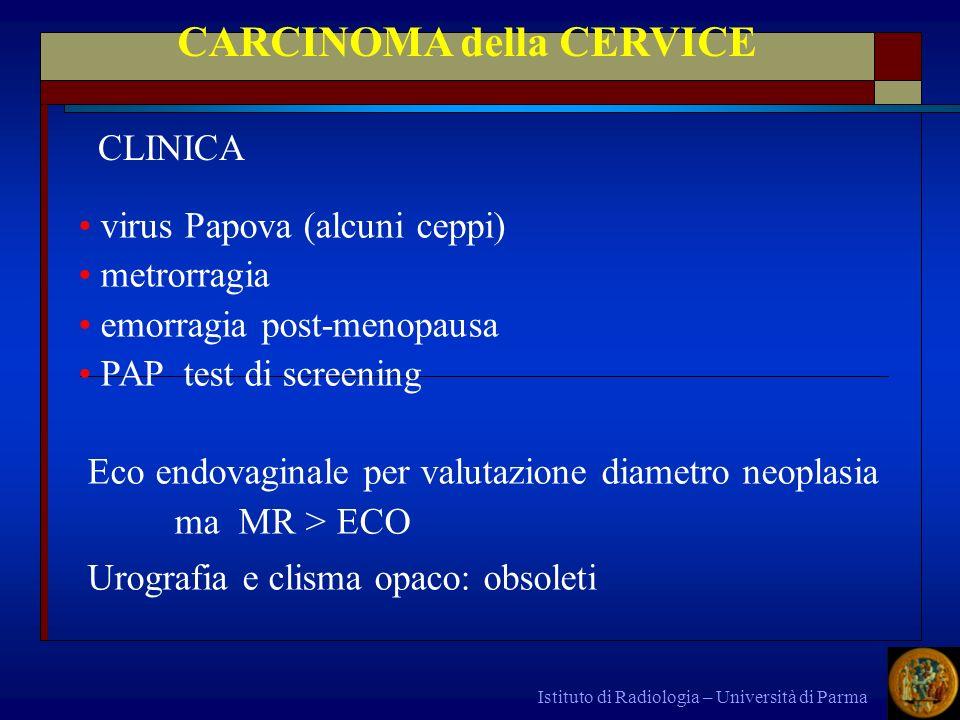 Istituto di Radiologia – Università di Parma CARCINOMA della CERVICE virus Papova (alcuni ceppi) metrorragia emorragia post-menopausa PAP test di scre