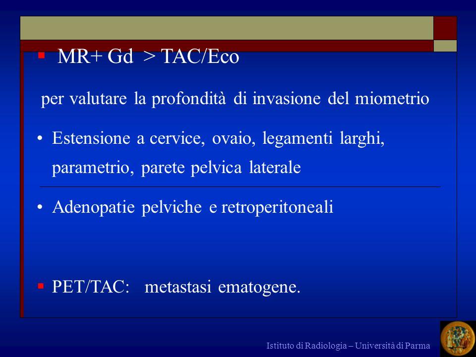 Istituto di Radiologia – Università di Parma MR+ Gd > TAC/Eco per valutare la profondità di invasione del miometrio Estensione a cervice, ovaio, legam