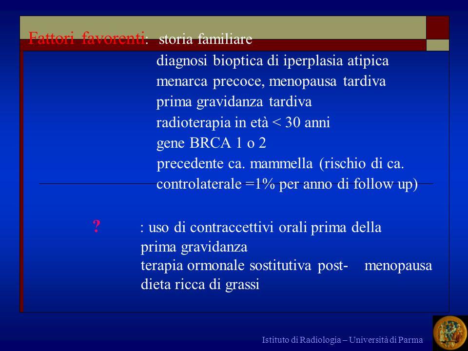 Istituto di Radiologia – Università di Parma Fattori favorenti : storia familiare diagnosi bioptica di iperplasia atipica menarca precoce, menopausa t