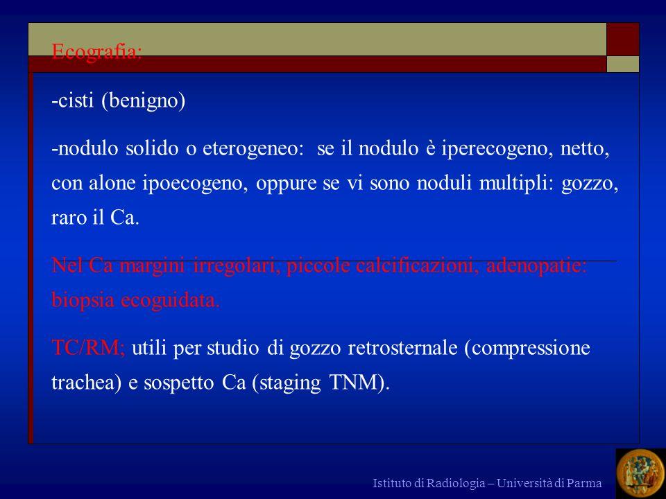 Istituto di Radiologia – Università di Parma Ecografia: -cisti (benigno) -nodulo solido o eterogeneo: se il nodulo è iperecogeno, netto, con alone ipo