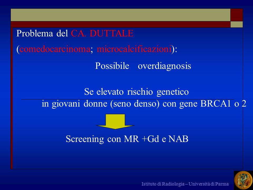 Istituto di Radiologia – Università di Parma asintomatico finchè non è molto grande dolore disturbi digestivi metrorragia tardivamente ascite; massa pelvica CARCINOMA dellOVAIO CLINICA