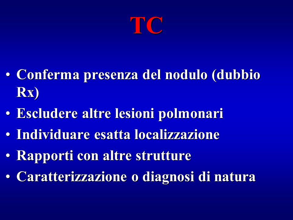 TC Conferma presenza del nodulo (dubbio Rx)Conferma presenza del nodulo (dubbio Rx) Escludere altre lesioni polmonariEscludere altre lesioni polmonari