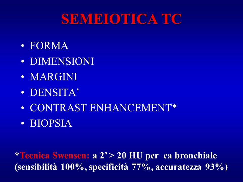 SEMEIOTICA TC FORMA DIMENSIONI MARGINI DENSITA CONTRAST ENHANCEMENT* BIOPSIA *Tecnica Swensen: a 2 > 20 HU per ca bronchiale (sensibilità 100%, specif