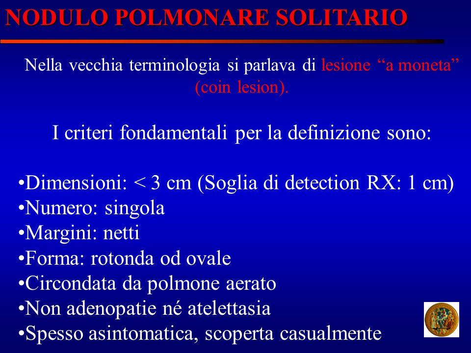 NODULO POLMONARE SOLITARIO Nella vecchia terminologia si parlava di lesione a moneta (coin lesion). I criteri fondamentali per la definizione sono: Di
