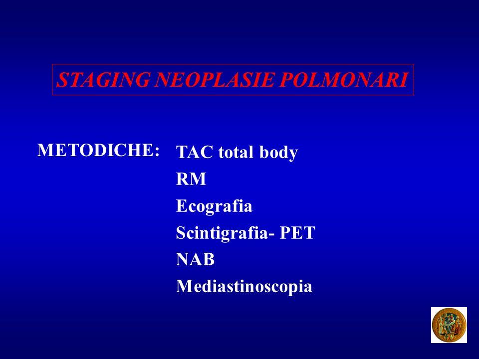 STAGING NEOPLASIE POLMONARI METODICHE: TAC total body RM Ecografia Scintigrafia- PET NAB Mediastinoscopia