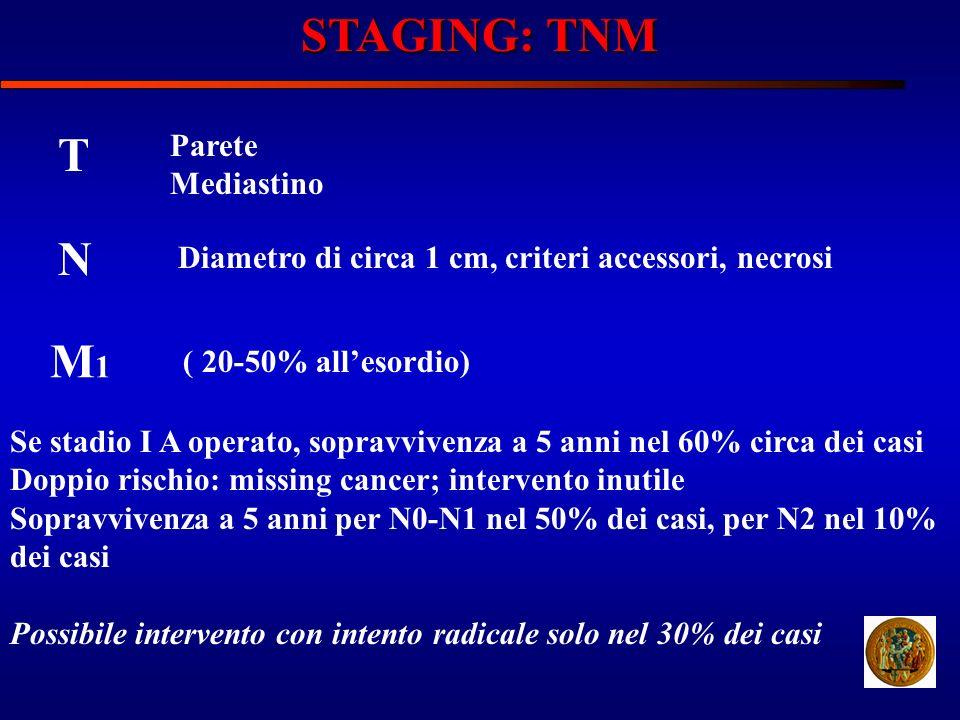 STAGING: TNM T Parete Mediastino N Diametro di circa 1 cm, criteri accessori, necrosi M1M1 ( 20-50% allesordio) Se stadio I A operato, sopravvivenza a