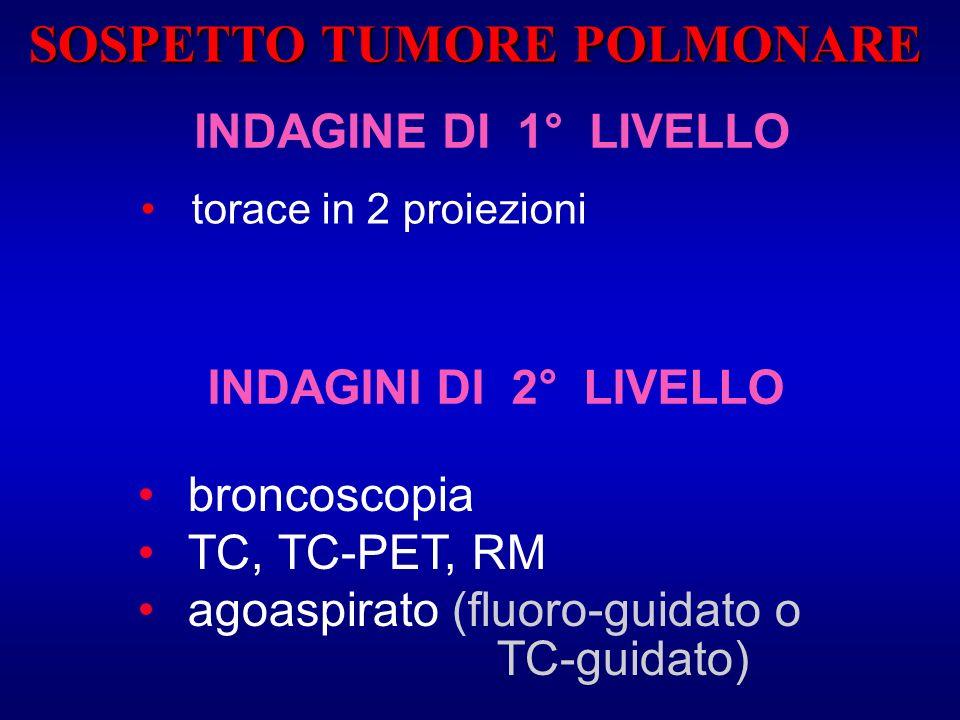 INDAGINE DI 1° LIVELLO torace in 2 proiezioni broncoscopia TC, TC-PET, RM agoaspirato (fluoro-guidato o TC-guidato) INDAGINI DI 2° LIVELLO SOSPETTO TU