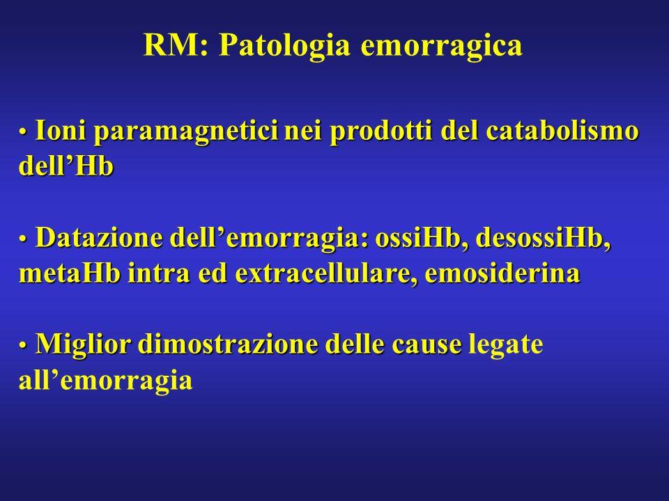 RM: Patologia emorragica Ioni paramagnetici nei prodotti del catabolismo dellHb Ioni paramagnetici nei prodotti del catabolismo dellHb Datazione delle