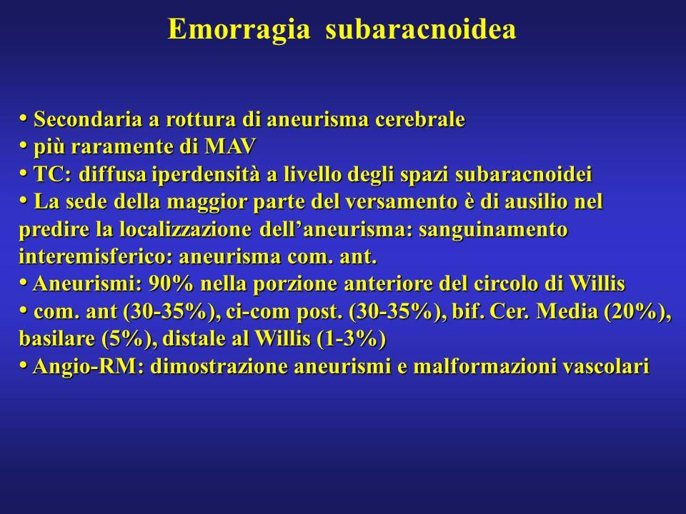 Emorragia subaracnoidea Secondaria a rottura di aneurisma cerebrale Secondaria a rottura di aneurisma cerebrale più raramente di MAV più raramente di