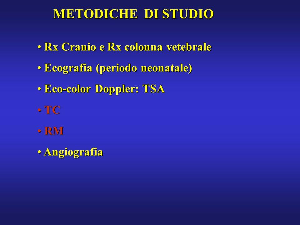 METODICHE DI STUDIO Rx Cranio e Rx colonna vetebrale Rx Cranio e Rx colonna vetebrale Ecografia (periodo neonatale) Ecografia (periodo neonatale) Eco-